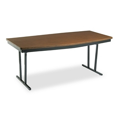 Barricks Economy Folding Conference Table Boat Shaped WalnutBlack By - Office max conference table