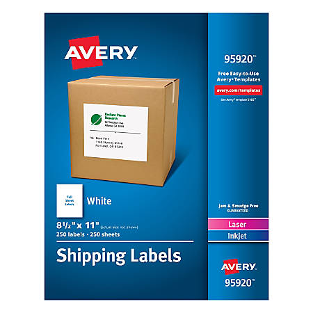 "Avery® Bulk Shipping Labels, 95920, 8 1/2"" x 11"", FSC Certified, White, Pack Of 250"