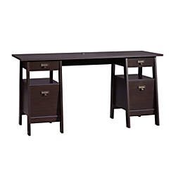 Sauder Stockbridge Executive Trestle Desk Jamocha