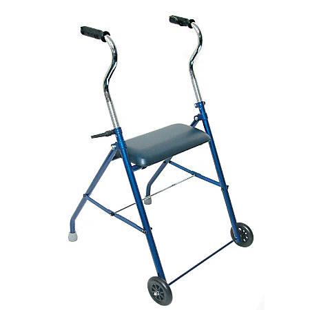 "DMI® Adjustable Steel Folding Walker With Wheels, 42""H x 26""W x 24""D, Royal Blue"