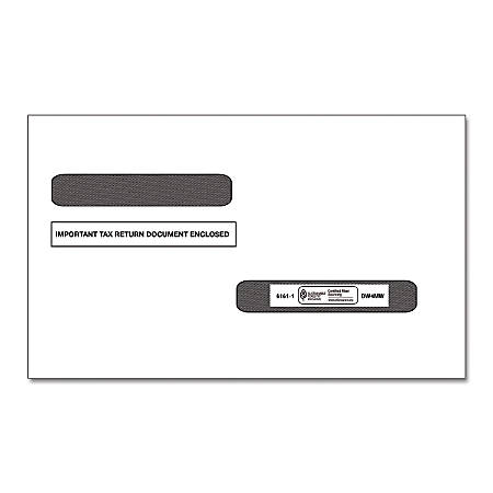 ComplyRight Double-Window Envelopes For W-2 Form 5216 And 1099-R Form 5175, 4-Up, Blank Laser, Pack Of 100 Envelopes
