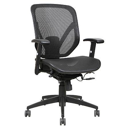 Lorell® Executive Mesh Mid-Back Chair, Black