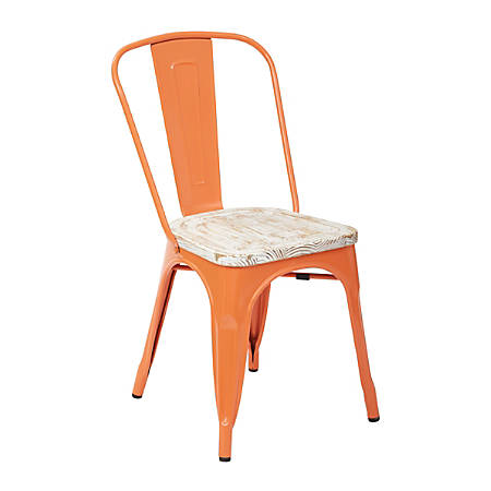 Office Star™ Bristow Armless Chairs with Wood Seats, Orange/Pine White, Set Of 2 Chairs
