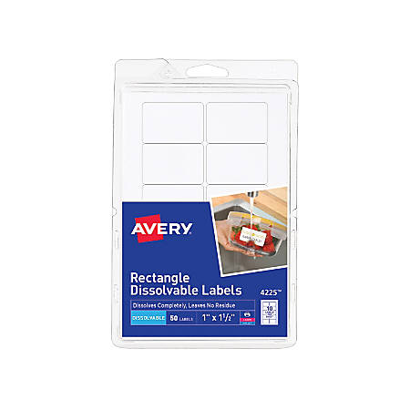 "Avery® Dissolvable Labels, 4225, Rectangle, 1"" x 1 1/2"", White, Pack Of 50"