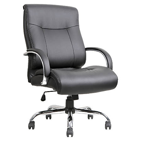 Lorell® Big and Tall Deluxe Bonded Leather Mid-Back Chair, Black