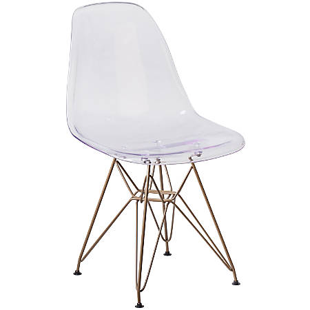 Flash Furniture Elon Series Polycarbonate Ghost Side Chair, Clear/Gold