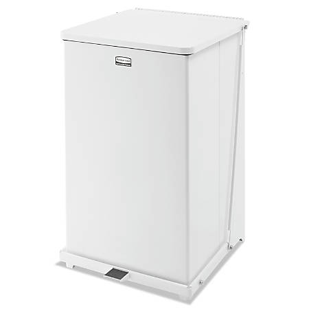 Rubbermaid® Commercial Defenders® Square Steel Quiet Step Can, 40 Gallons, Sky White