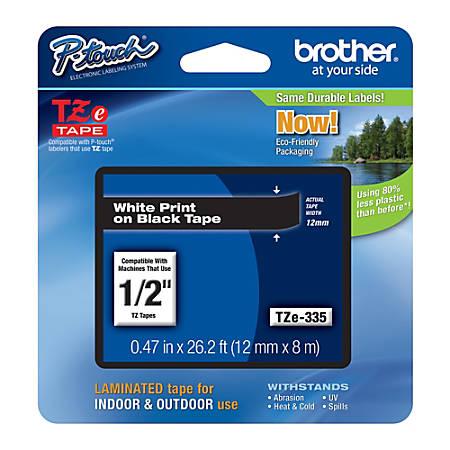 "Brother® TZe-335 White-On-Black Tape, 0.5"" x 26.2'"