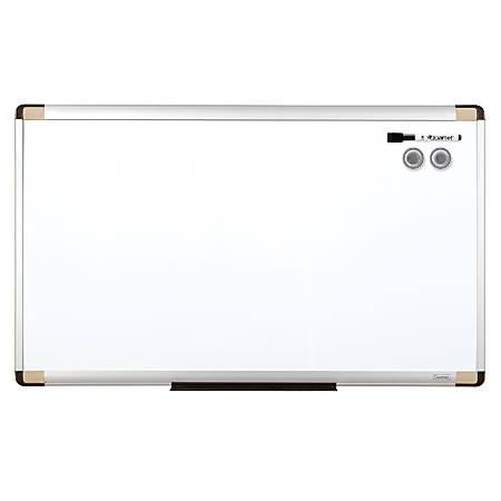 "Quartet® Magnetic Dry-Erase Board, Steel, 18"" x 30"", White, Aluminum Frame"