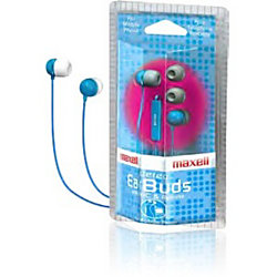 Maxell Earset - Stereo - Mini-phone - Wired - 16 Ohm - 20 Hz - 20 kHz - Earbud - Binaural - Open - 4 ft Cable - Blue
