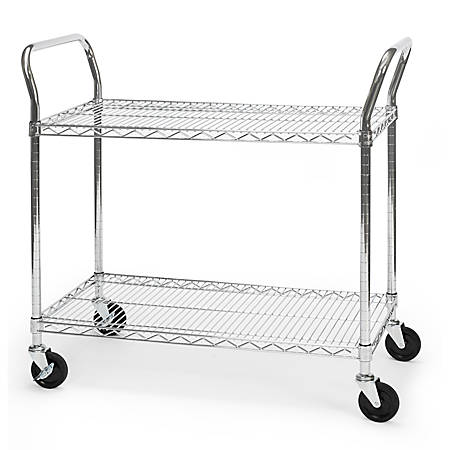 """OFM Wire Mobile Cart, 29 3/4""""H x 36""""W x 18""""D, Chrome"""