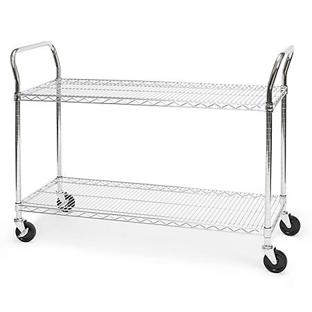 """OFM Wire Mobile Cart, 29 3/4""""H x 48""""W x 18""""D, Chrome"""