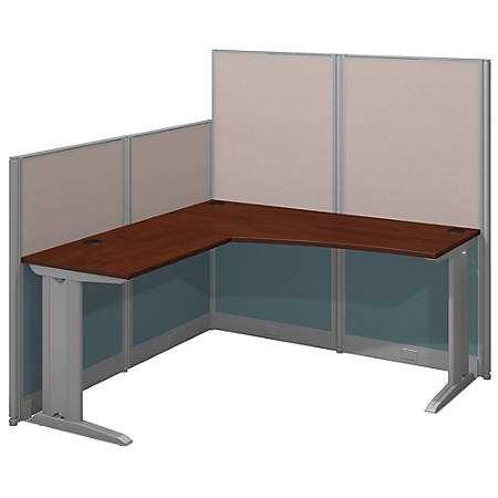 Bush Business Furniture Office In An Hour L Workstation, Hansen Cherry Finish, Premium Delivery