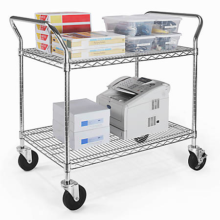 """OFM Wire Mobile Cart, 29 3/4""""H x 36""""W x 24""""D, Chrome"""