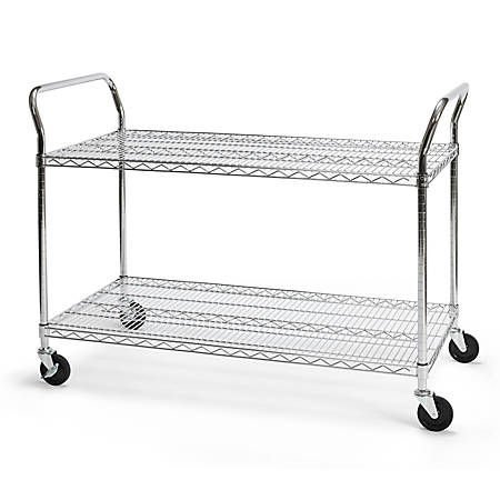 "OFM Wire Mobile Cart, 29 3/4""H x 48""W x 24""D, Chrome"