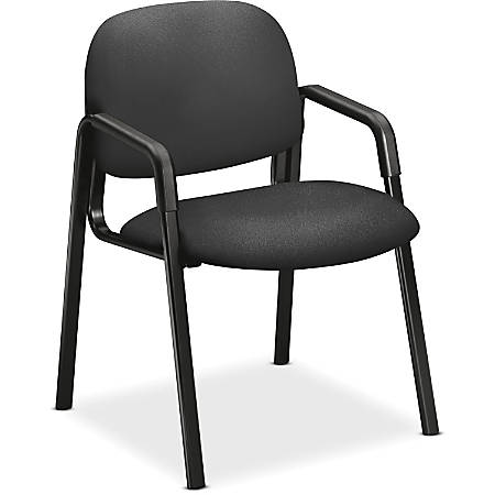 "HON Solutions Seating Guest Chair, Arms - Iron Seat - Iron Back - Steel Black Frame - Four-legged Base - 20"" Seat Width x 18"" Seat Depth - 23.5"" Width x 24.5"" Depth x 32"" Height"