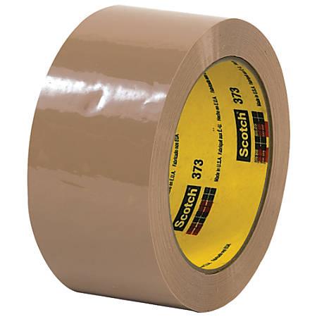 """Scotch® 373 Carton-Sealing Tape, 3"""" Core, 2"""" x 110 Yd., Tan, Pack Of 6"""