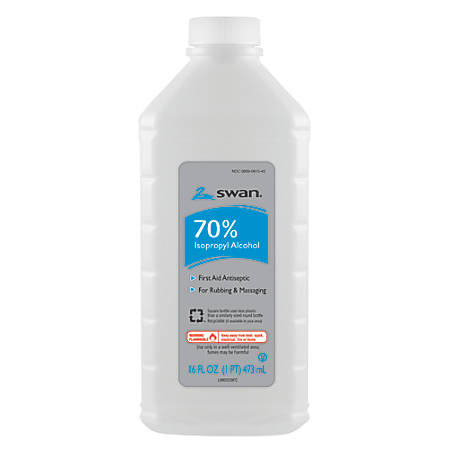 Swan 70% Isopropyl Rubbing Alcohol, 16-Oz Bottle, Case Of 12 Bottles