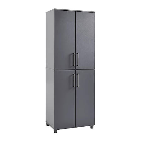 Pleasing Ameriwood Home Latitude Tall Cabinet 6 Shelves Graphite Gray Item 6074698 Interior Design Ideas Ghosoteloinfo