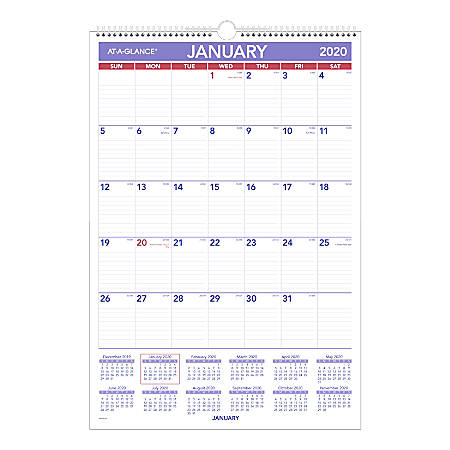"""AT-A-GLANCE® Erasable Monthly Wall Calendar, 15-1/2"""" x 22-3/4"""", Blue, January To December 2020, PMLM0328"""