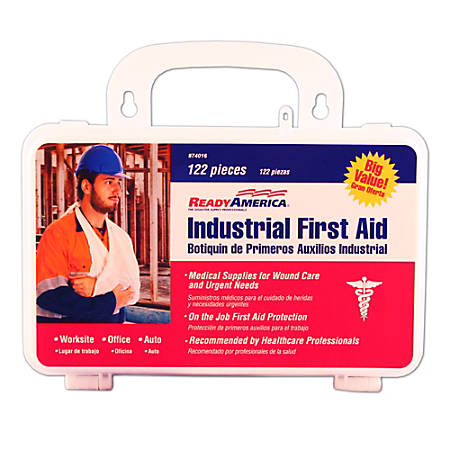 Ready America® 122-Piece Industrial First Aid Kits, White, Pack of 4 Kits