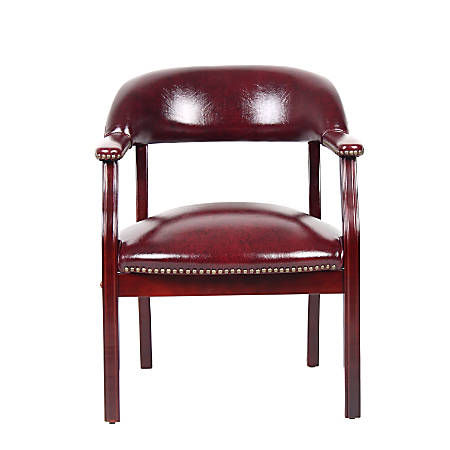 """Boss Office Products Traditional Tufted Conference Chair, 31""""H x 24""""W x 26""""D, Mahogany Frame, Oxblood Vinyl"""