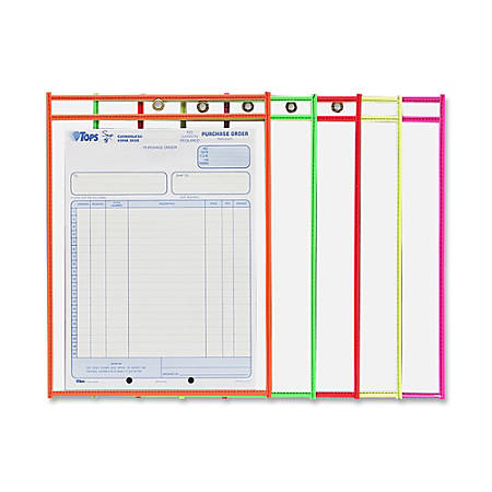 "C-Line® Neon Color Stitched Shop Ticket Holders, 9"" x 12"", Assorted Colors, Box Of 25"