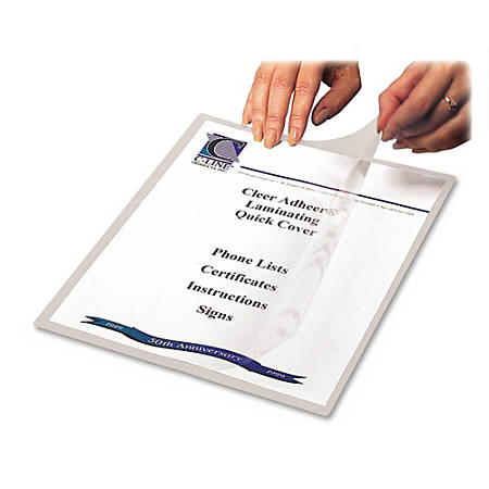 "C-Line® Cleer-Adheer Laminated Film Covers, 8 1/2"" x 11"", Clear, Box Of 25"