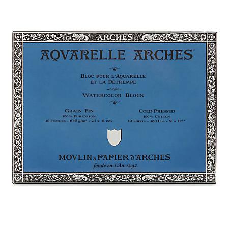 """Arches® Aquarelle Watercolor Block, 300 Lb, Cold Press, 9"""" x 12"""""""