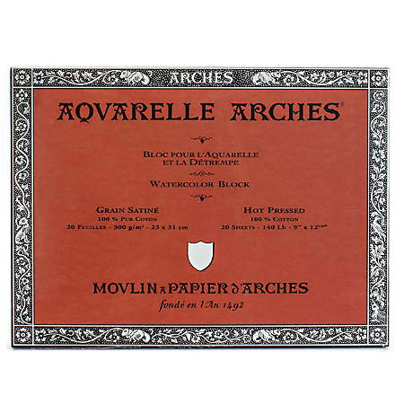 """Arches® Aquarelle Watercolor Block, 140 Lb, Hot Press, 9"""" x 12"""""""