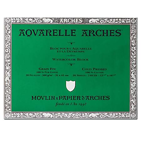 """Arches® Aquarelle Watercolor Block, 140 Lb, Cold Press, 12"""" x 16"""""""