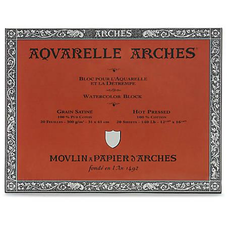 """Arches® Aquarelle Watercolor Block, 140 Lb, Hot Press, 12"""" x 16"""""""