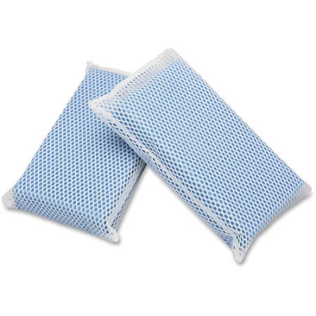 """SKILCRAFT® All-Purpose Mesh Scrubbers, 5""""H x 3 1/2""""W x 1 1/4""""D, Blue, Box Of 24 (AbilityOne 7920-01-626-4444)"""