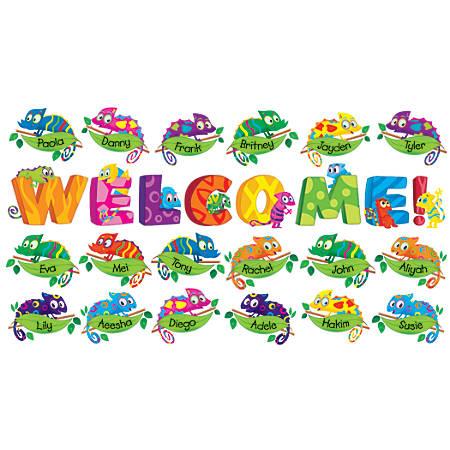 Scholastic Teacher's Friend Welcome Chameleons Bulletin Board Set, Pre-K - Grade 5