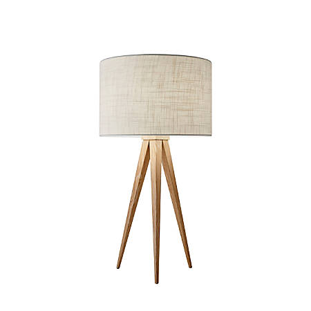 "Adesso® Director Table Lamp, 26 1/4""H, Off-White Shade/Natural Base"