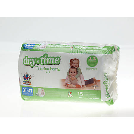 DryTime Disposable Training Pants, Large, 32 - 40 Lb, White, 15 Training Pants Per Bag, Case Of 8 Bags