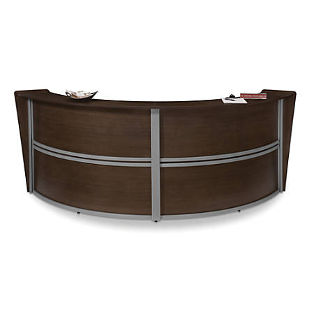 OFM Double Marque-Reception Station, Walnut/Gray
