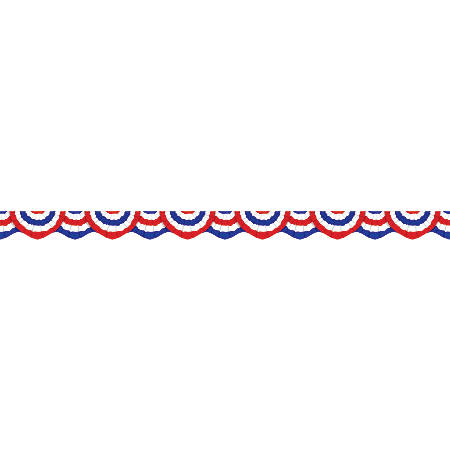 "Scholastic Teacher's Friend Scalloped Trimmers, 2 1/4"" x 36"", Patriotic Bunting, Pre-K - Grade 5, Pack Of 12"