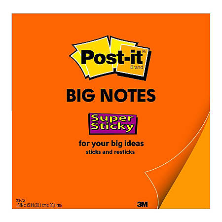 "Post it® Notes Super Sticky Big Notes, 15"" x 15"", Neon Orange, Pack Of 1 Pad"