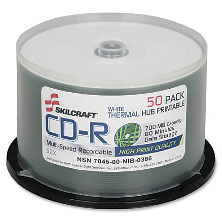 SKILCRAFT® Thermal Printable 52x CD-R Discs, 50-Pack Spindle (AbilityOne 7045-01-626-9521)
