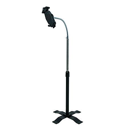 "CTA Digital Height-Adjustable Gooseneck Floor Stand for 7-13 Inch Tablets - Up to 13"" Screen Support - 55"" Height - Floor - Acrylonitrile Butadiene Styrene (ABS), Steel, Metal"