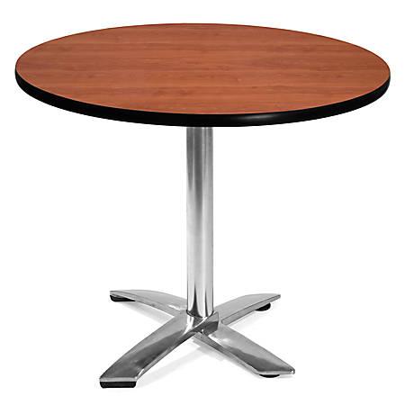 "OFM Multipurpose Folding Table, Round, 36""W x 36""D, Cherry"