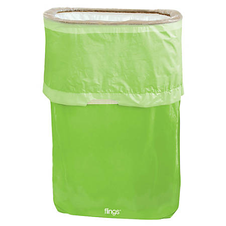 Amscan Pop-Up Plastic Trash Fling Bins, 13 Gallons, Kiwi Green, Pack Of 3 Bins