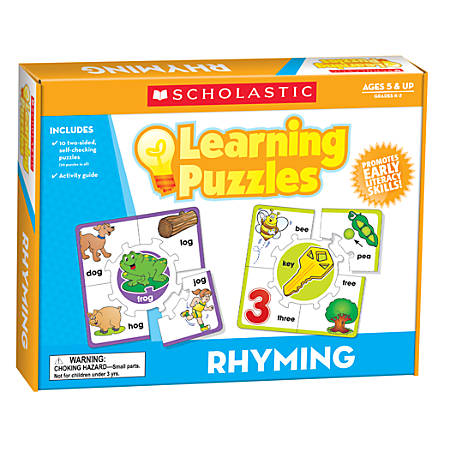 Scholastic Teacher's Friend 2-Sided Learning Puzzles, Rhyming, Grade K-2, Pack Of 10