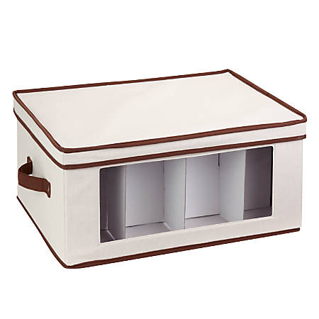 """Honey-Can-Do Tall Stemware Canvas Storage Chest, 10 5/8""""H x 13 1/2""""W x 17 5/8""""D, Brown/Natural"""