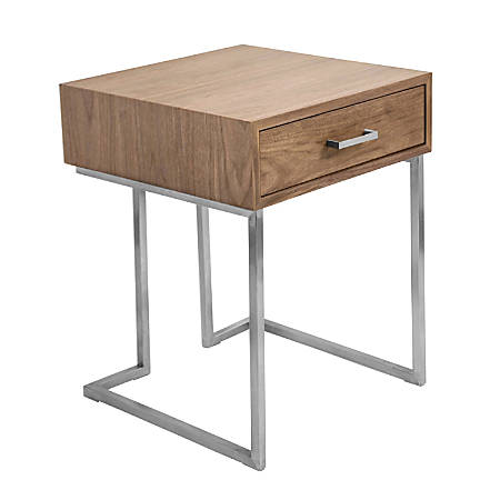 Lumisource Roman Contemporary End Table, Walnut/Stainless Steel