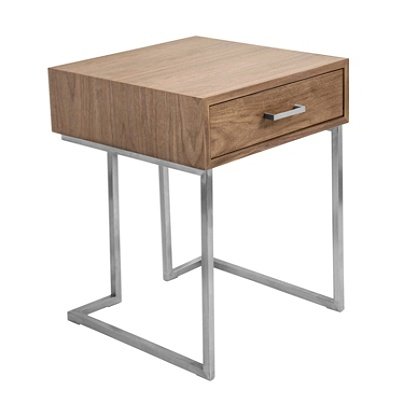 Lumisource Roman Contemporary End Table, Walnut/Stainless Steel Item #  6090128