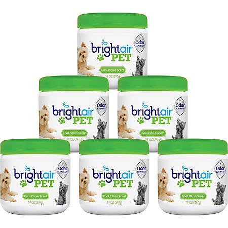 Bright Air Pet Odor Eliminator Air Fresheners, Cool Citrus Scent, 14 Oz, Pack Of 6