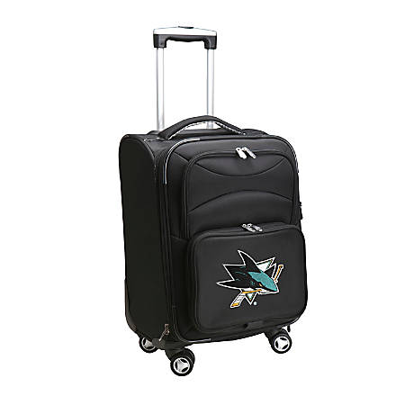 """Denco ABS Upright Rolling Carry-On Luggage, 21""""H x 13""""W x 9""""D, San Jose Sharks, Black"""