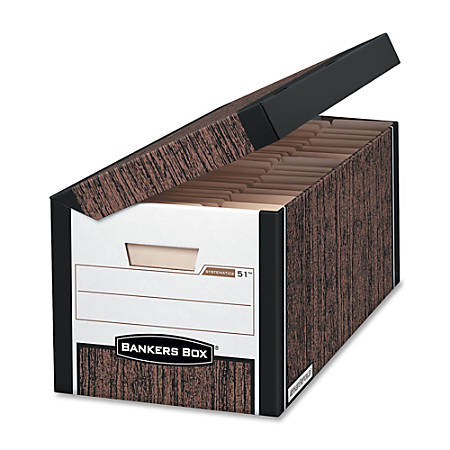"Bankers Box® 35% Recycled Systematic Storage Boxes, 10 3/8"" x 13"" x 25 1/2"", Woodgrain, Case Of 12"